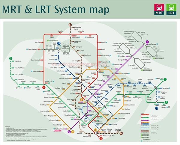 Các làn tàu điện ngầm chính ở Singapore
