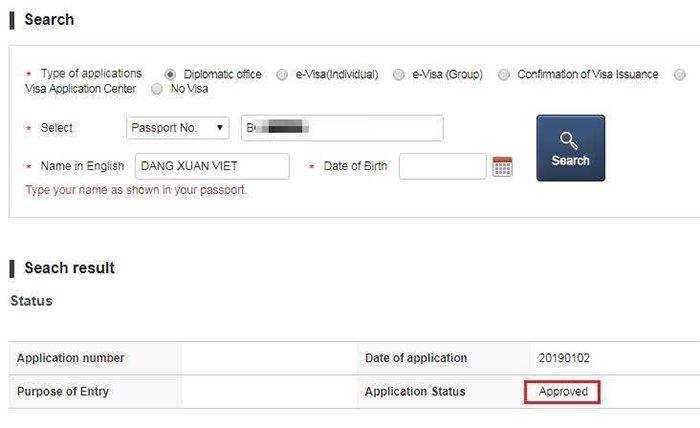 Kết quả xin Visa du học Hàn Quốc trên website của Cục QLXNC
